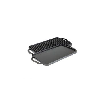 Plita din fonta cu 2 fete neteda si grill Chef Collection Lodge 41,5 x 25,5 cm L-CDRG
