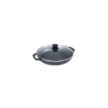 Tigaie adanca rotunda din fonta cu manere si capac de sticla Chef Collection Lodge 30 cm L-C12EP